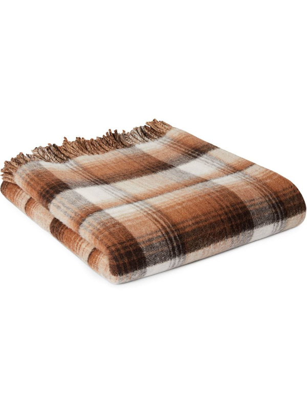Gucci Gg And Check Throw Blanket In Brown