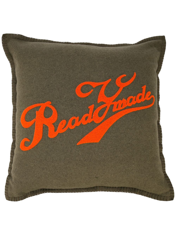 Readymade Logo Print Pillow In Green