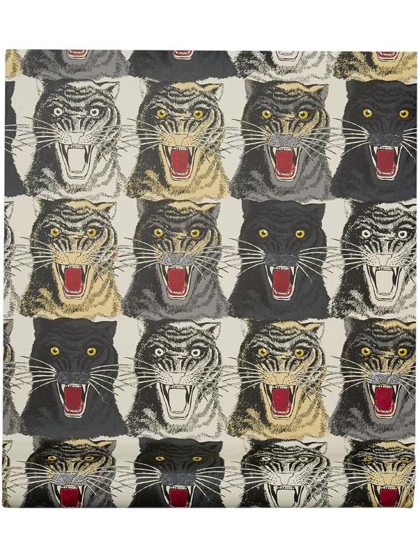 Gucci Tiger Face Print Wallpaper In Multicolour
