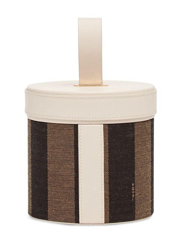 Fendi Striped Cylindrical Box In White