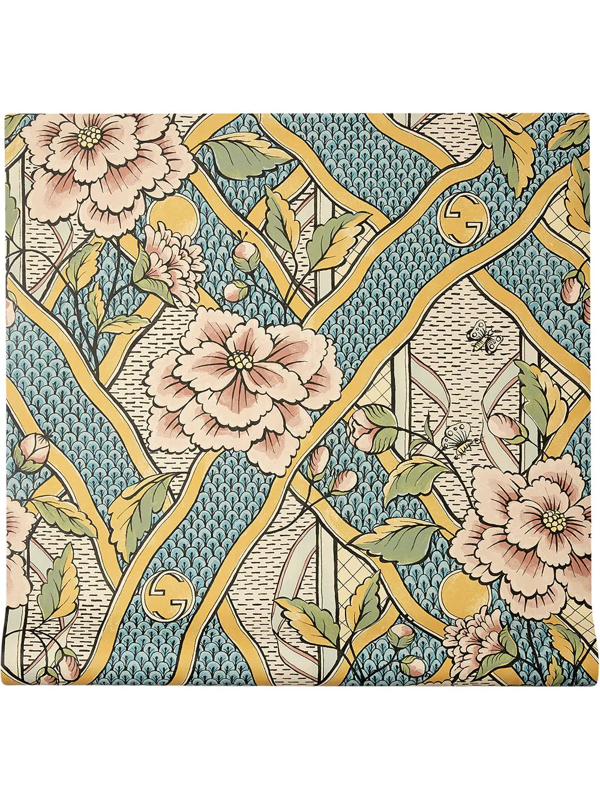 Gucci Floral Print Wallpaper In Blue