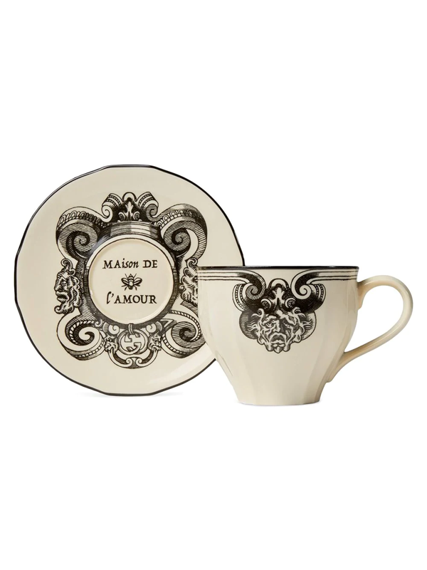 Gucci Eye Detail Cup And Saucer In White ,black