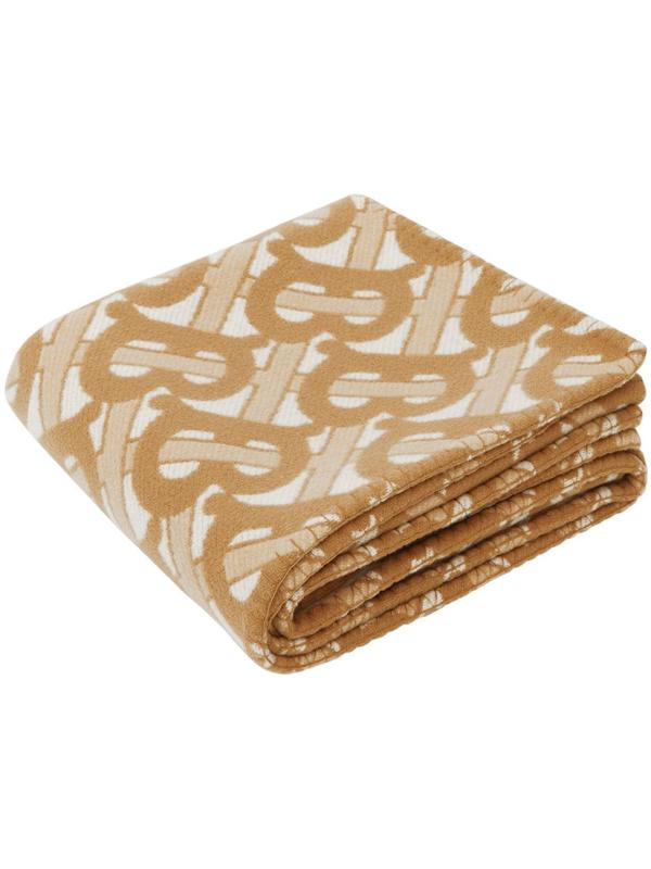 Burberry Women's Monogram Motif Merino Wool Cashmere Blanket In Neutrals