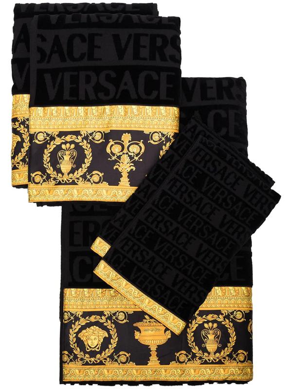 Versace 5-piece Barocco Towel Set In Black