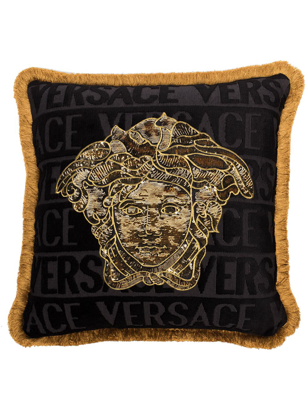 Versace Sequin Medusa Decorative Pillow, 18 X 18 In Z4557 Black Gold