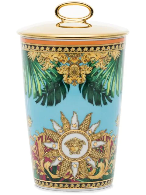 Versace Jungle Porcelain Scented Candle In Blue