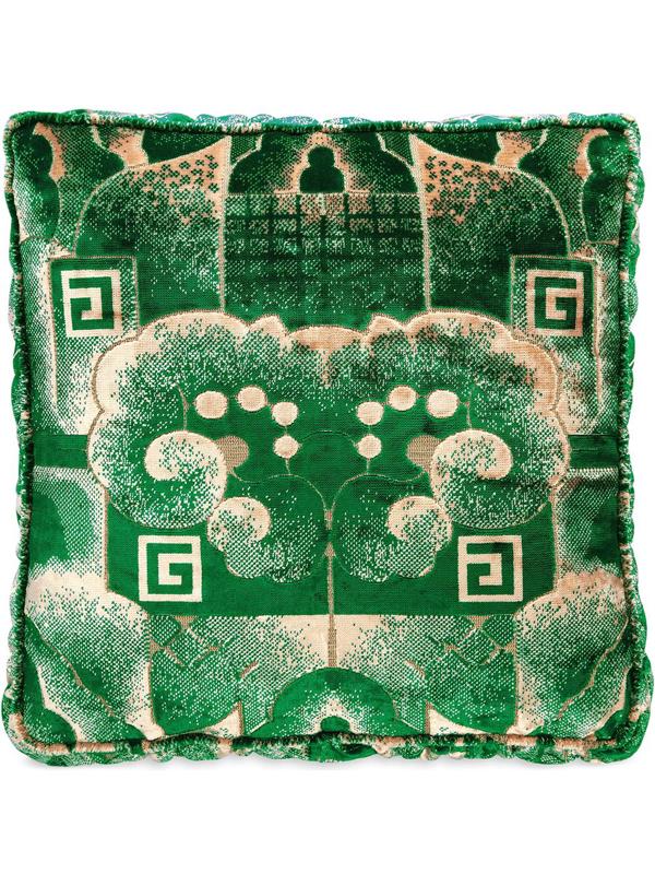 Gucci Velvet Square G Cloud Jacquard Cushion In Green