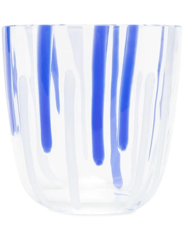 Carlo Moretti Abstract Stripe Pattern Glass In White