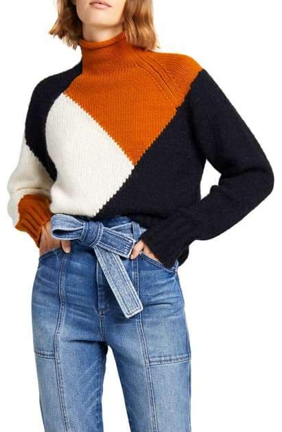 A.l.c Women's Claremont Colorblocked Sweater In Off White / Bronze / Black