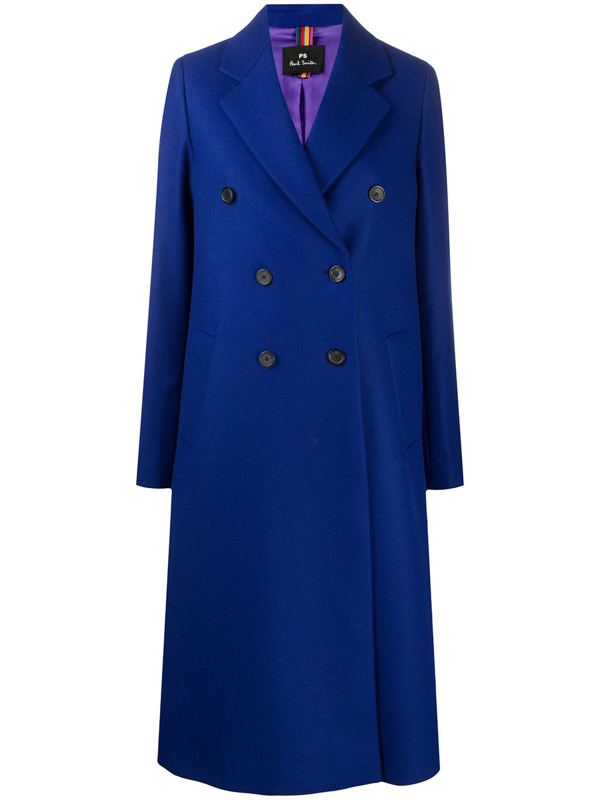 Ps By Paul Smith Knitted Double Breasted Coat Microcheck In Blue