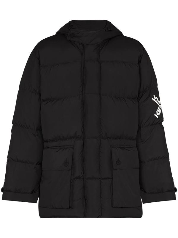 Kenzo Logo Printed Sleeve Padded Jacket In Black