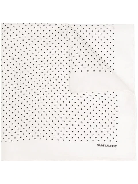 Saint Laurent Polka Dot Print Handkerchief In White