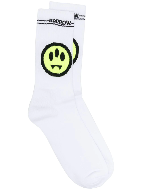 Barrow Mono Logo Cotton Blend Socks In White