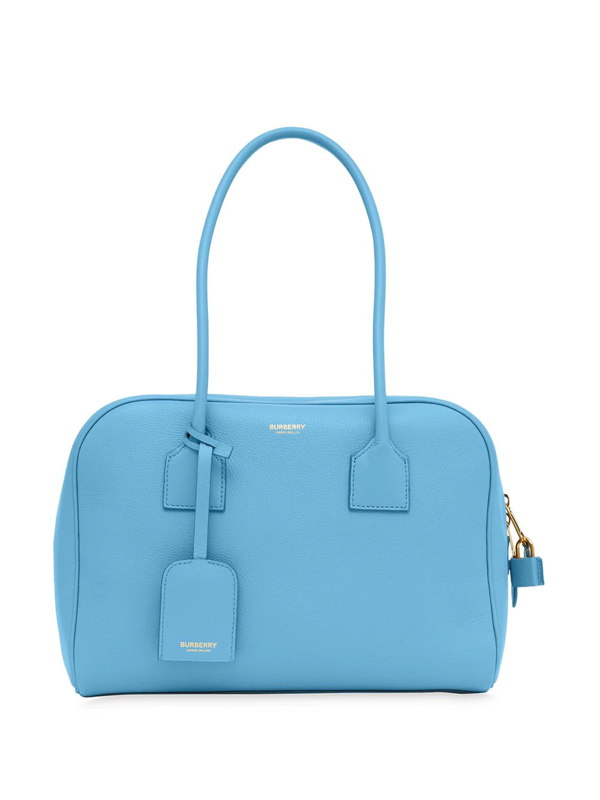 Burberry Half Cube Medium Leather Tote Bag In Blue