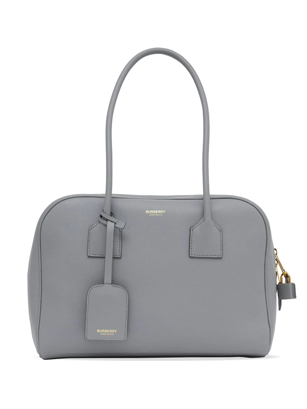 Burberry Half Cube Medium Leather Tote Bag In Grey