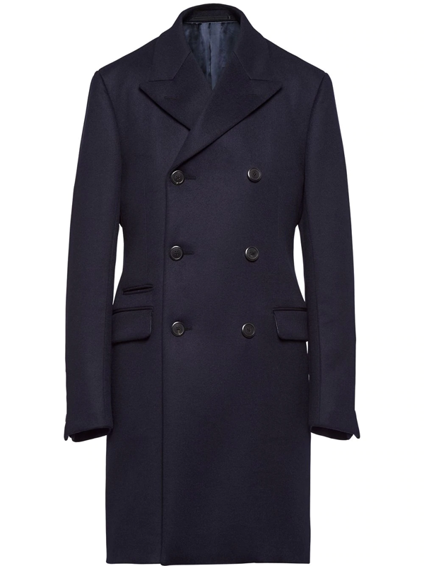 Prada Double-breasted Cashmere Coat In Blue
