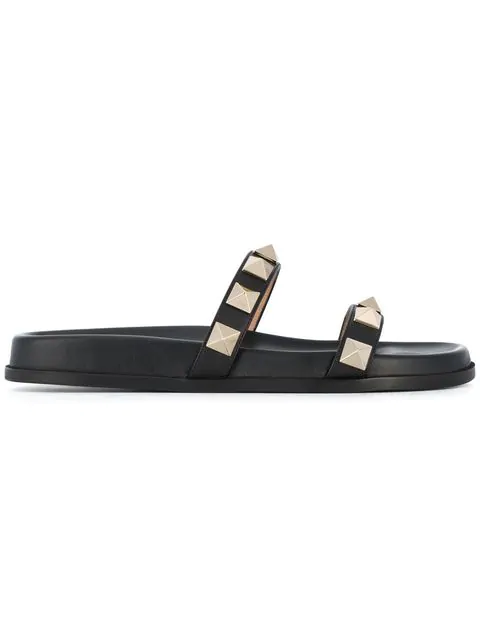 Valentino Rockstud Leather Two-Band Slide Sandal In Black