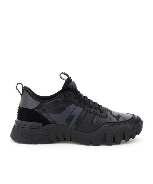 Valentino Garavani Rockrunner Plus Camouflage Sneakers In Black