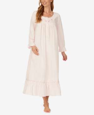 Eileen West Women's Flannel Long Sleeve Nightgown In Pink Roses