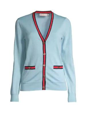 Tory Burch Women's Madeline Striped Trim Cardigan In Summer Blue
