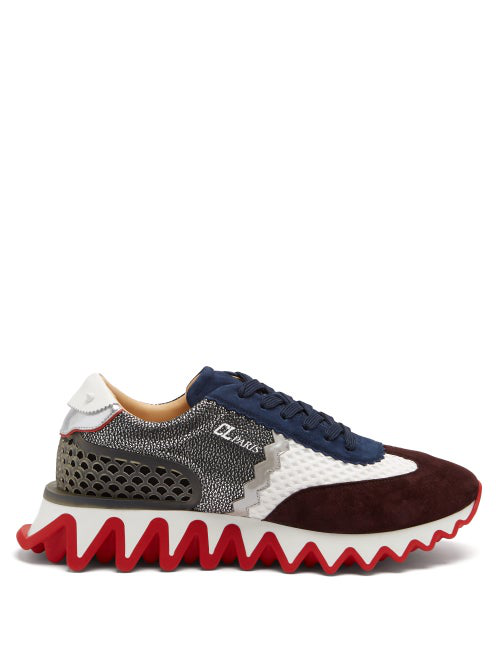 Christian Louboutin Men's Loubishark Suede Low-top Sneakers In Multi