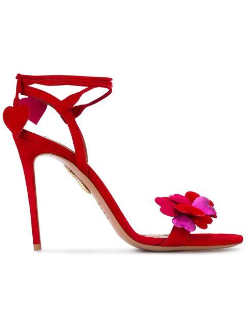 dc9a07fb701a4 Aquazzura Happy Hearts Suede Sandals In Red | ModeSens