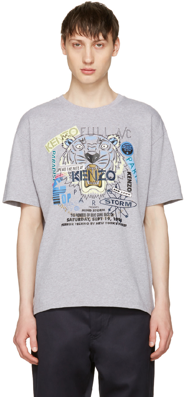 8695365ab Kenzo Grey Limited Edition Flyer X Tiger T-Shirt In 95 Dove Grey ...