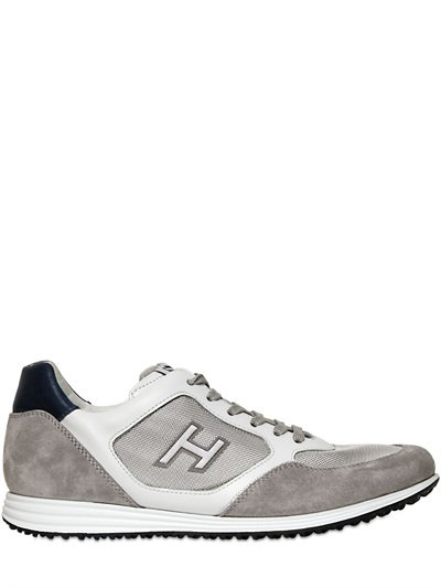 Hogan 20mm Olympia X Leather Running Sneakers In White/grey