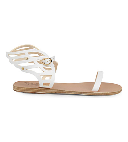 Ancient Greek Sandals Ikaria Lace Leather Wing Sandals In White