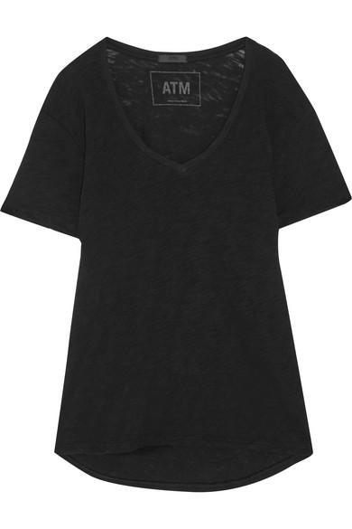 Atm Anthony Thomas Melillo Boyfriend Slub Cotton-Jersey T-Shirt In Black