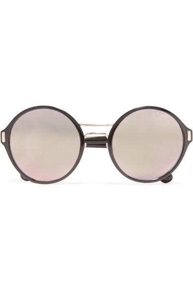 2ade963e334 Prada Round-Frame Acetate And Gold-Tone Mirrored Sunglasses In Black ...
