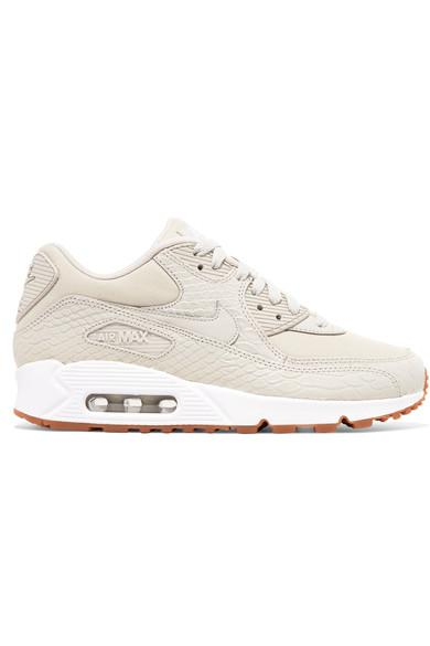 newest 6c883 ea042 Nike Air Max 90 Premium Snake-Effect Leather And Mesh Sneakers