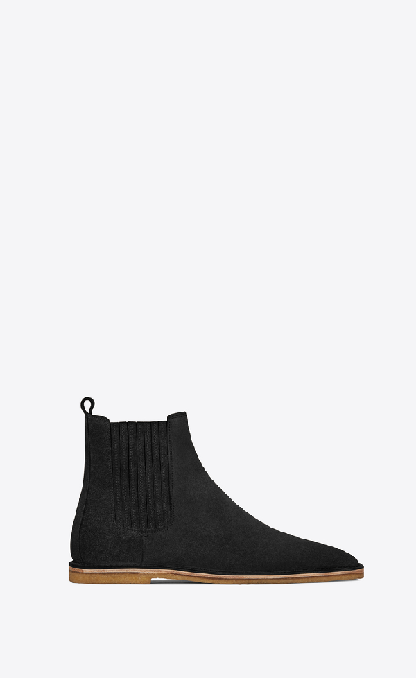 2770b2a5f3e Saint Laurent Hugo 25 Suede Chelsea Boot, Black In Green | ModeSens