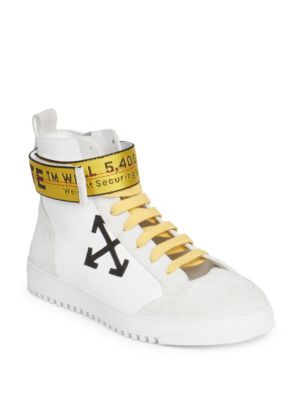 4d11ff5123600 Off-White Grosgrain And Suede-Trimmed Leather High-Top Sneakers In White