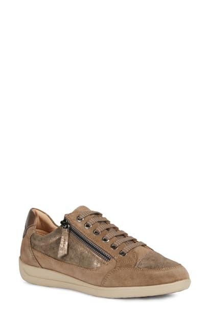 Geox Myria 99 Sneaker In Dark Beige Leather