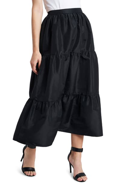 Vince Camuto Iridescent Tiered Taffeta Skirt In Rich Black