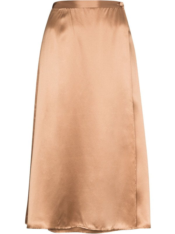 Reformation Neutrals Jones Crossover Silk Skirt