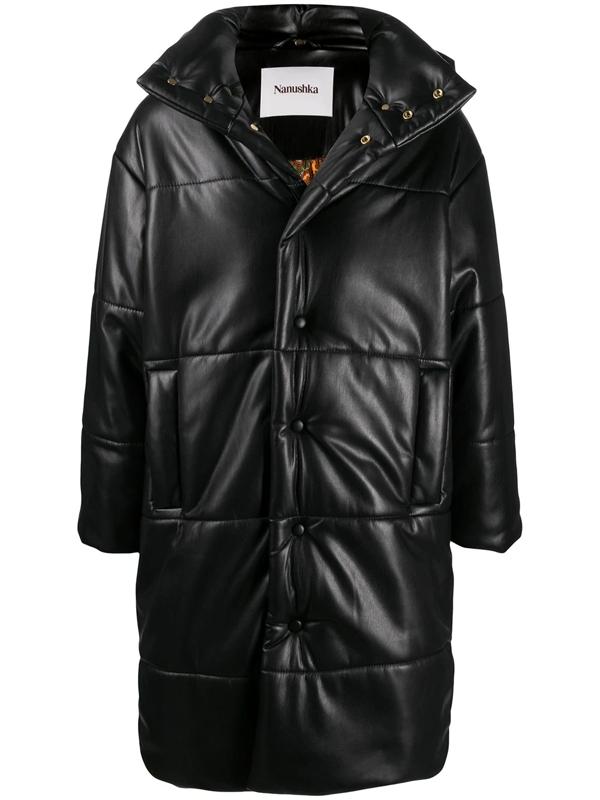 Nanushka Puffer Mid-length Coat In Black