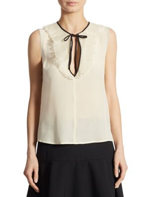 49bef006e73f5 Red Valentino Sleeveless Tie-Neck Silk Crepe De Chine Blouse In Neutral  Pattern