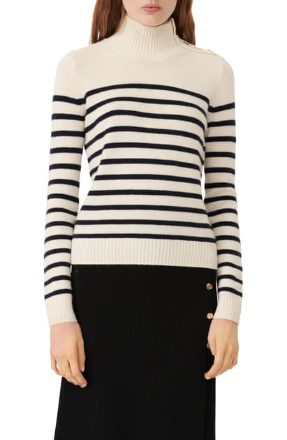 Maje Montsi Striped Cashmere Sweater In Ecru