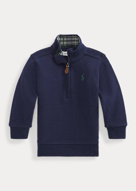 Ralph Lauren Baby Boy's Interlock Quarter-zip Sweater In Cruise Navy