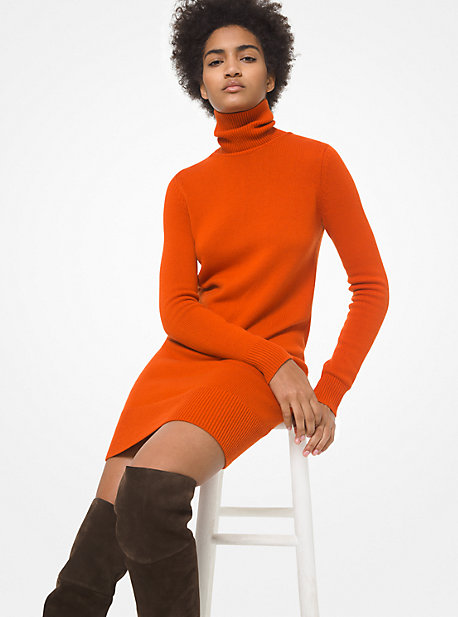 Michael Kors Women's Cashmere Turtleneck Sweater Dress In Tomato Red