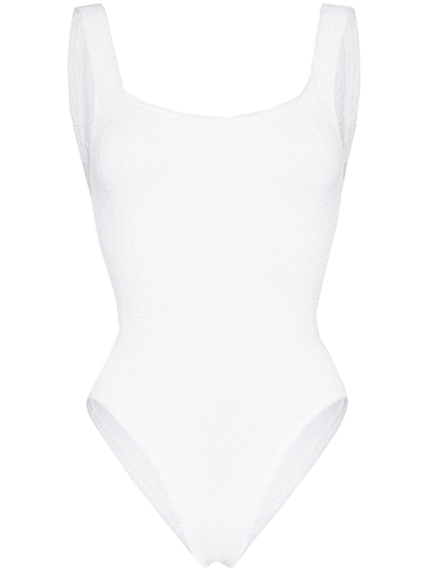 Hunza G Square-neck Crinkleds Swimsuit In White