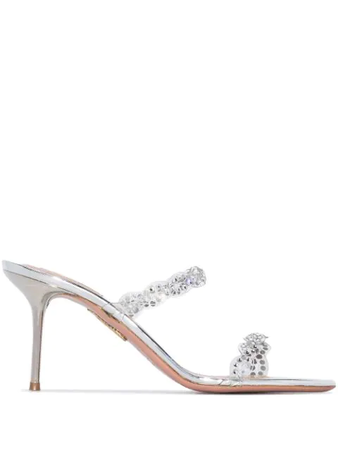 Aquazzura Heaven 75 Crystal-embellished Pvc And Metallic Leather Mules In Silver