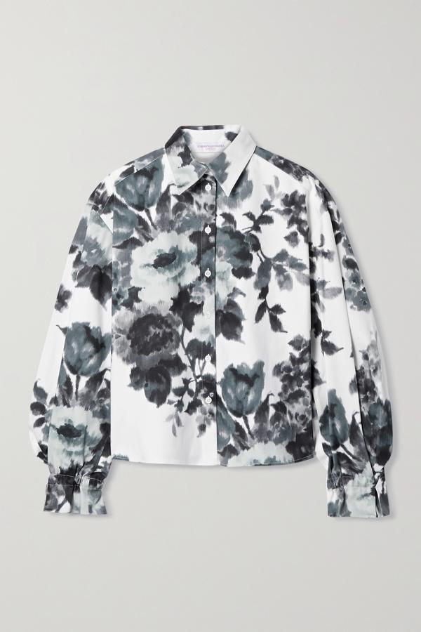 Carolina Herrera Cropped Floral Button-down Shirt In White