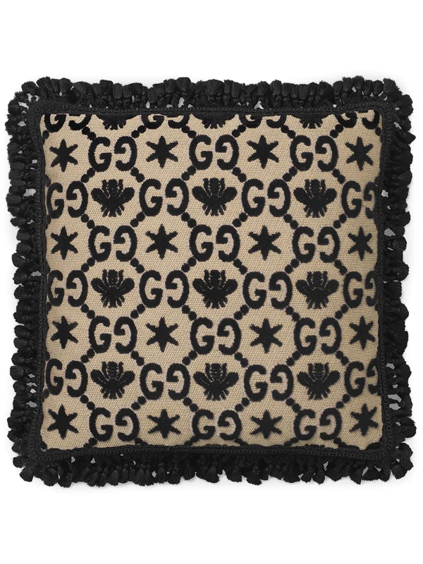 Gucci Gg Jacquard Cushion In Black