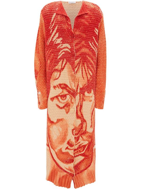 Jw Anderson Long Printed Cardigan In Orange