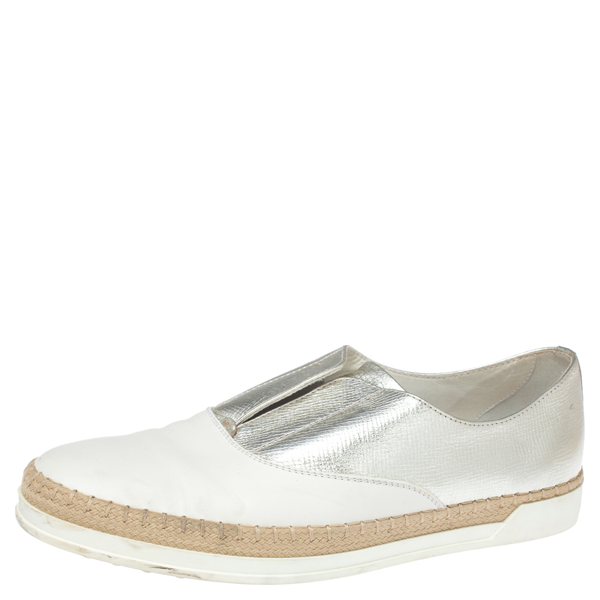 Pre-owned Tod's Metallic Silver And White Leather Francesina Espadrille Slip On Sneakers Size 39