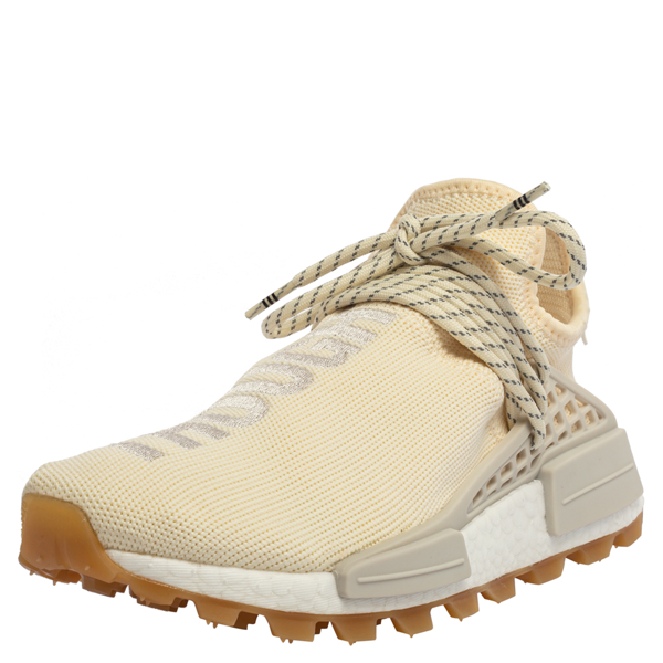 Pre-owned Adidas Originals Cream White Fabric Pw Hu Nmd Prd Pharrell Williams Sneakers Size 39.5