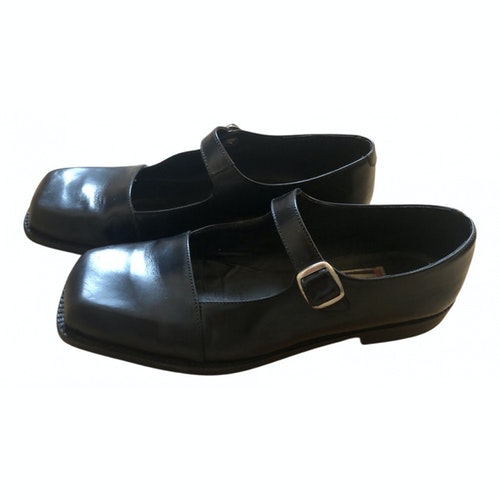 Pre-owned Fiorucci Black Leather Ballet Flats